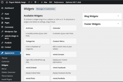 The Available Widgets Screen WordPress