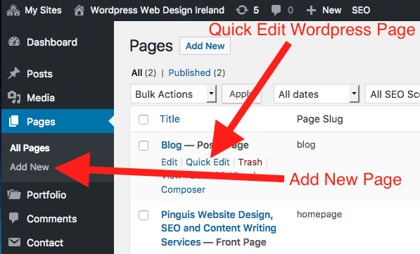 Go To Add Pages or Click Page Title to Edit the Page