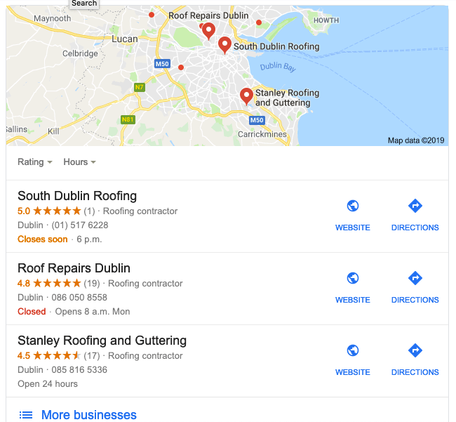 google maps result pinguis roofing seo