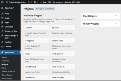 The Available Widgets Screen WordPress