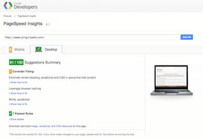 Google speed pagespeed insights result for Pinguis Website Design in Ireland