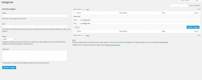 options for default wordpress category