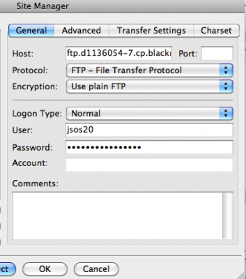 connnecting to ftp using hostname username and password