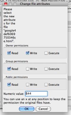 file dialog box changing permissions filezilla