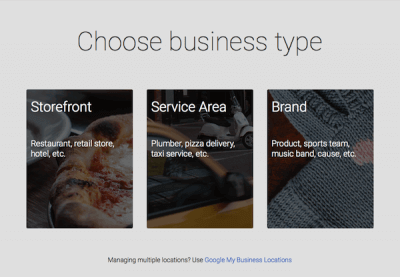 business type Google choices