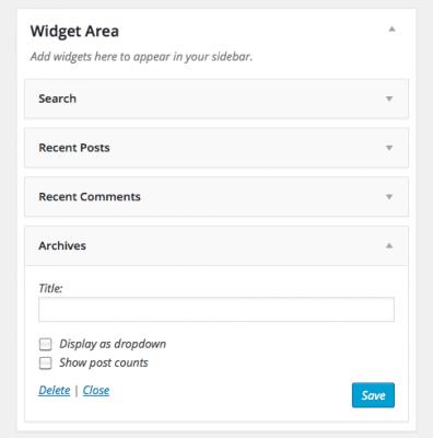 Widget Area Rename Position or Delete the Widget