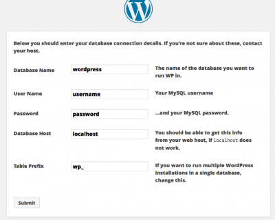 where to enter details to create wordpress database