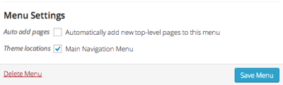 setup menu location wordpress
