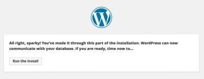 lets go wordpress database installed all sparky
