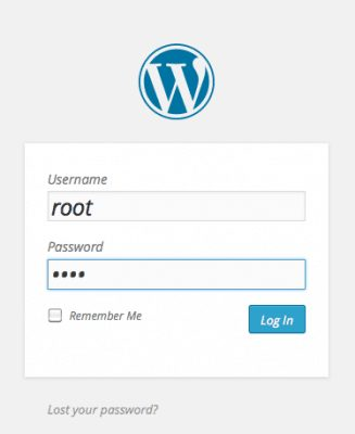 Standard wordpress wordpress-login-screen
