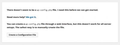 Install screen Wordpress standard wp-config