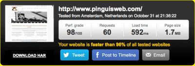 Speed test Result Pinguis Web and SEO