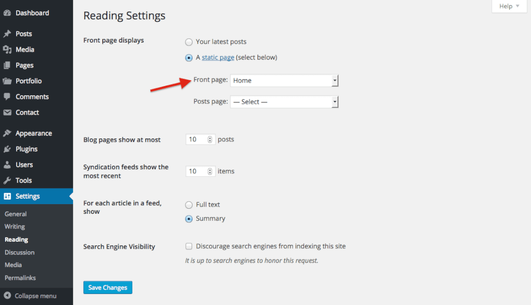 How to Setup Static Front Page in WordPress in Ireland