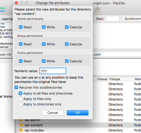How to Change Permissions on folders with Filezilla
