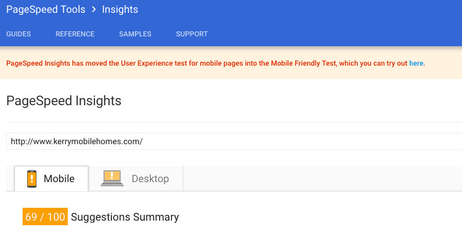 Google Page Speed Insights After File Upload Viewed on Mobile Version Screen