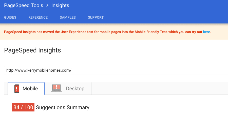 Google Page Speed Insights Before File Upload Viewed on Mobile Version Screen