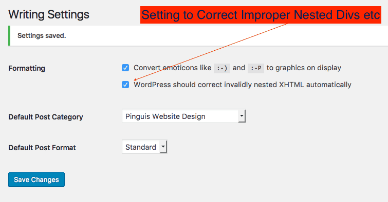 Settings >> Writing Wordpress Correct uncorrected nested divs