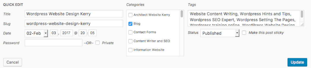 WordPress Category to Post All Post Screen