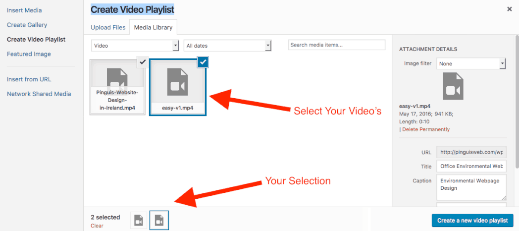 Video Playlist Creation WordPress