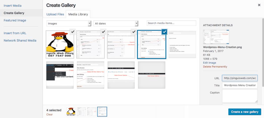 Create WordPress Gallery