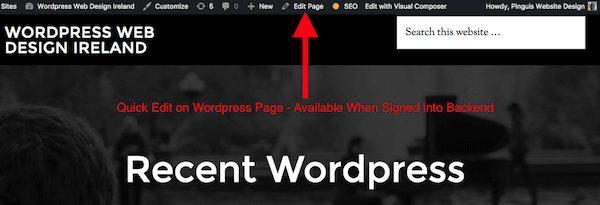 Edit a Wordpress Page Live Preview