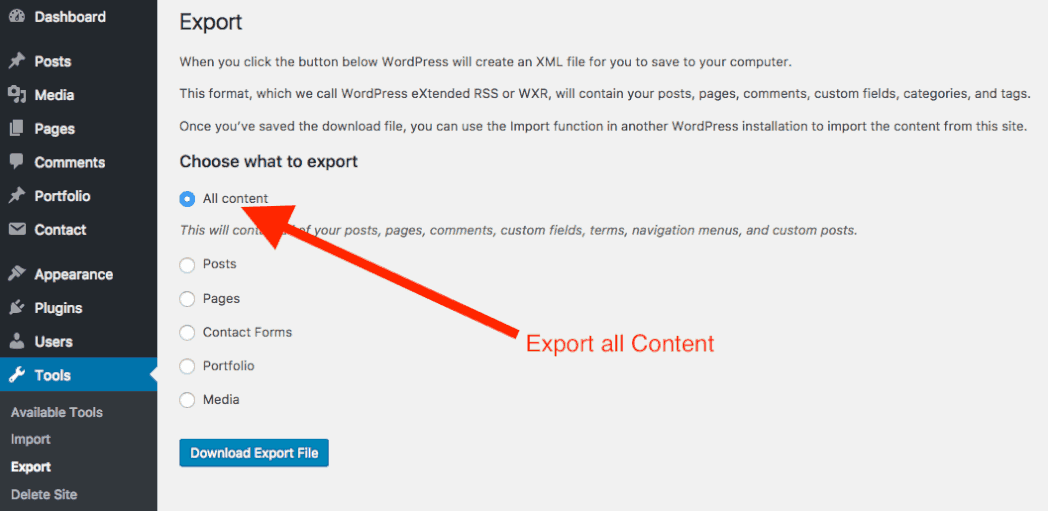 Export All WordPress Content