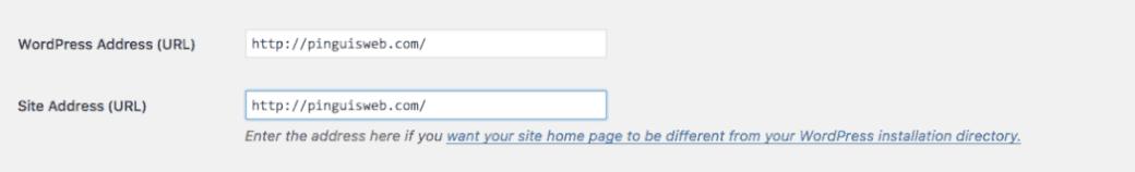 WordPress Address none www. or with www