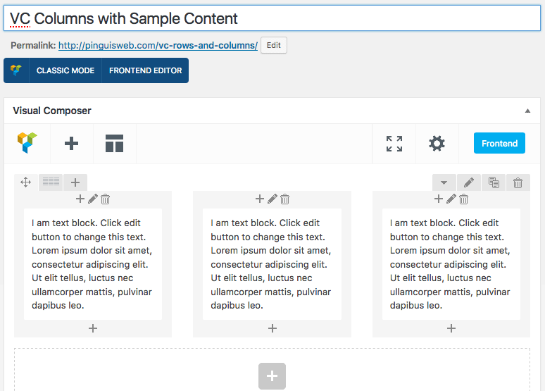 VC Columns with VC Sample Content