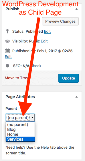WordPress Development as Child Page of Services Page