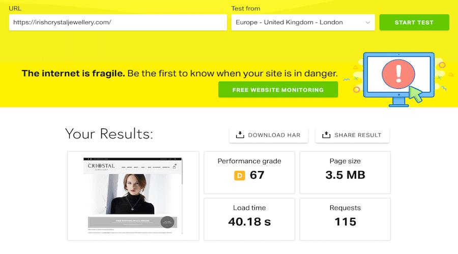 Webpage Speed Optimisation Before Image